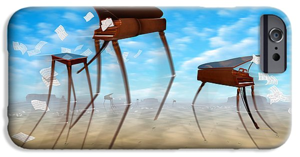Surrealism Digital Art iPhone Cases - Piano Valley iPhone Case by Mike McGlothlen