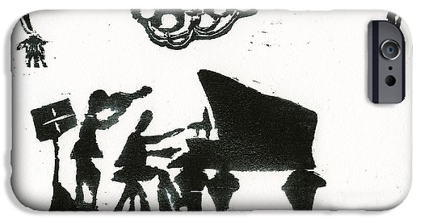 Black And White Reliefs iPhone Cases - Piano Violin duo iPhone Case by Barbara M Wilson