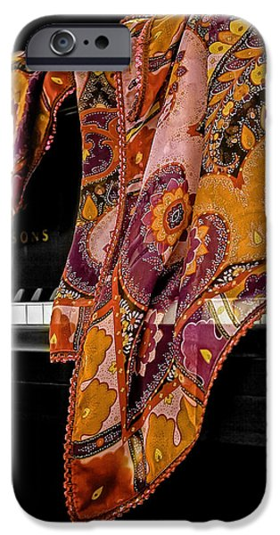 Piano iPhone Cases - Piano with Scarf iPhone Case by Madeline Ellis