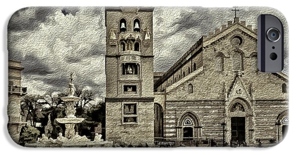 Facade Mixed Media iPhone Cases - Piazza del Duomo iPhone Case by Maria Coulson