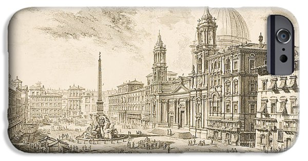 Facade Drawings iPhone Cases - Piazza Navona iPhone Case by Giovanni Battista Piranesi