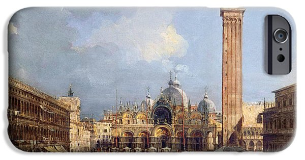 Exterior iPhone Cases - Piazza San Marco, Venice, C.1760 Oil On Canvas Detail iPhone Case by Francesco Guardi
