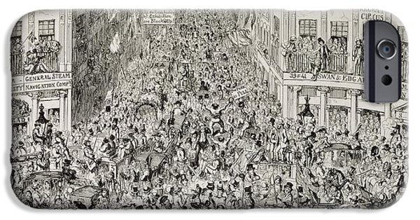 Celebration Paintings iPhone Cases - Piccadilly during the Great Exhibition iPhone Case by George Cruikshank