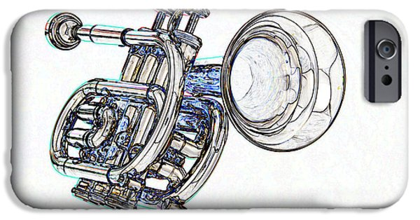 Music Drawings iPhone Cases - Piccolo Trumpet Music Instrument Color Drawing 3020.04 iPhone Case by M K  Miller