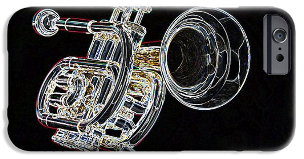 Music Drawings iPhone Cases - Piccolo Trumpet Music Instrument Dark Color Drawing 3020.03 iPhone Case by M K  Miller