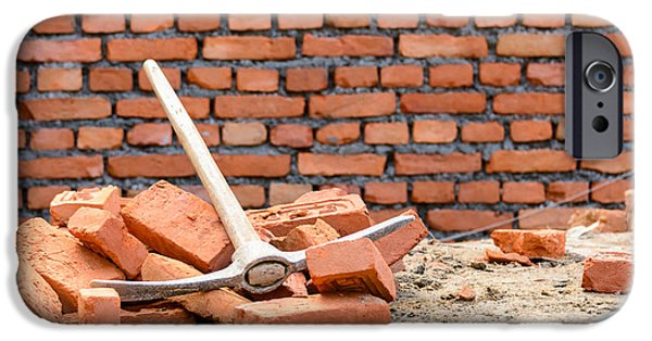 Recently Sold -  - Work Tool iPhone Cases - Pickaxe on a construction site iPhone Case by Dutourdumonde Photography