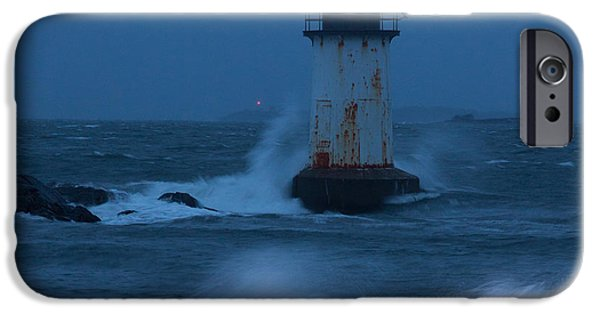 New England Lighthouse iPhone Cases - Pickering Lighthouse hit by storm surge iPhone Case by Jeff Folger