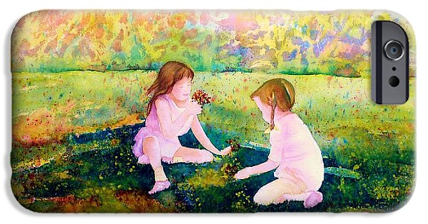 Park Scene Paintings iPhone Cases - Picking Flowers In The Park Paintings Of Montreal Park Scenes Children Playing Carole Spandau iPhone Case by Carole Spandau