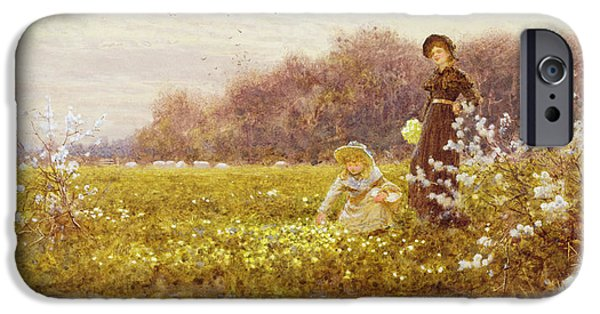 Sisters Paintings iPhone Cases - Picking Primroses iPhone Case by Thomas James Lloyd