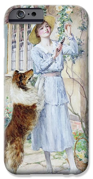 Cute Puppy iPhone Cases - Picking Roses iPhone Case by William Henry Margetson