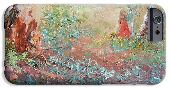 Landscape With Figure iPhone Cases - Picking Wildflowers  iPhone Case by Jan Matson
