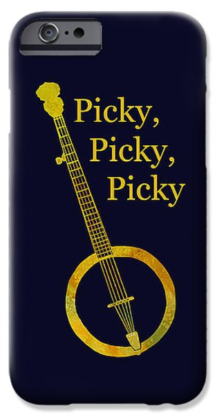 Nashville Paintings iPhone Cases - Picky Banjo iPhone Case by Jenny Armitage