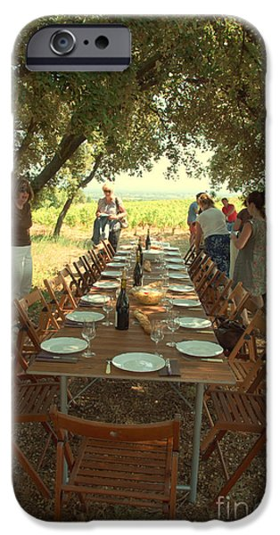 Vineyard Prints iPhone Cases - Picnic at the Vineyard iPhone Case by Anita Miller