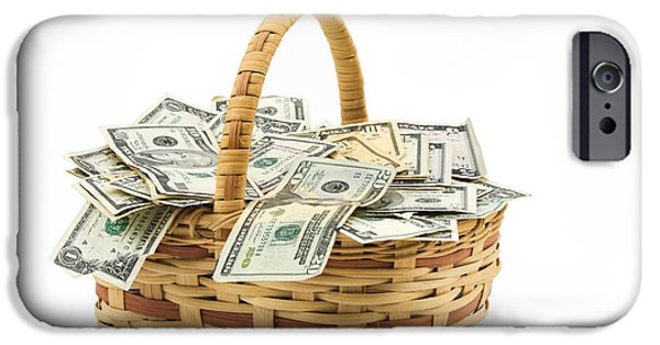 Money iPhone Cases - Picnic Basket Full Of Money iPhone Case by Keith Webber Jr