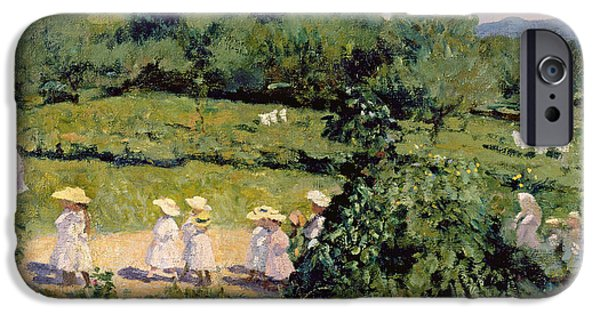 Straw iPhone Cases - Picnic In May, Summer Day, 1906 iPhone Case by Karoly Ferenczy