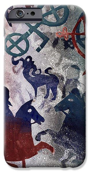Print Photographs iPhone Cases - Pictish Riders, 1996 Monotype iPhone Case by Gloria Wallington
