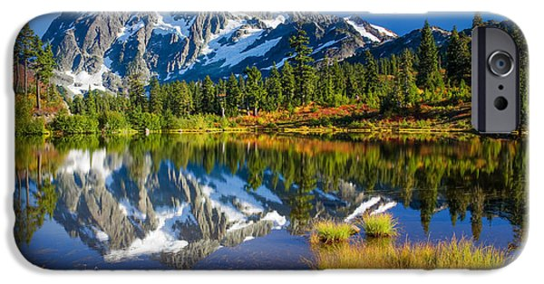 Park Scene iPhone Cases - Picture Lake iPhone Case by Inge Johnsson