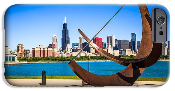 Willis Tower iPhone Cases - Picture of Chicago Adler Planetarium Sundial iPhone Case by Paul Velgos