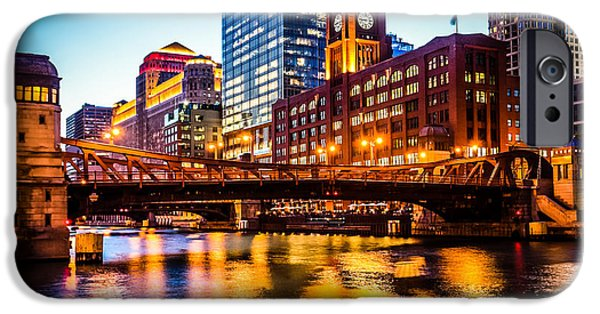 Merchandise iPhone Cases - Picture of Chicago at Night with Clark Street Bridge iPhone Case by Paul Velgos