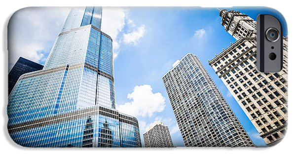 Wrigley iPhone Cases - Picture of Chicago New and Old Buildings iPhone Case by Paul Velgos