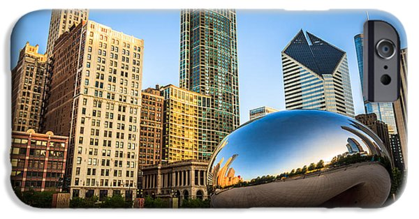 The Bean iPhone Cases - Picture of Cloud Gate Bean and Chicago Skyline iPhone Case by Paul Velgos