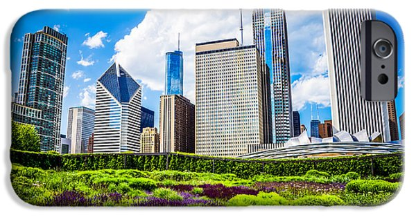 Stone Buildings iPhone Cases - Picture of Lurie Garden Flowers with Chicago Skyline iPhone Case by Paul Velgos