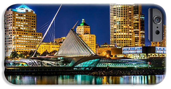 Chicago iPhone Cases - Picture of Milwaukee Skyline at Night iPhone Case by Paul Velgos