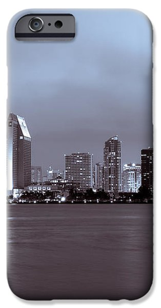 Picture of San Diego Skyline at Night iPhone Case by Paul Velgos