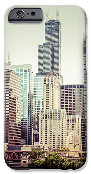 Willis Tower iPhone Cases - Picture of Vintage Chicago with Sears Willis Tower iPhone Case by Paul Velgos