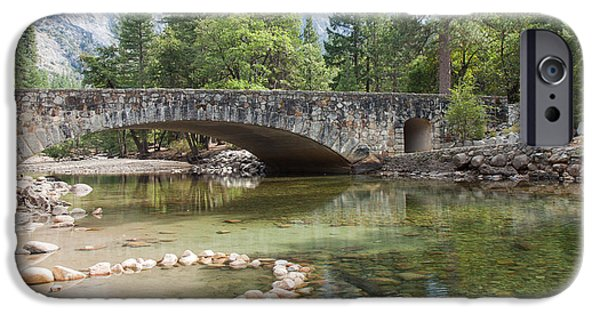 River View iPhone Cases - Picturesque Bridge in Yosemite Valley iPhone Case by John Bailey