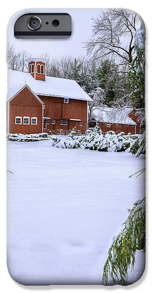Christmas Holiday Scenery iPhone Cases - Picturesque Red New England Barn - Winter Portrait iPhone Case by Thomas Schoeller