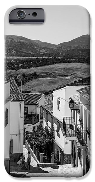 Spanish House iPhone Cases - Picturesque Streets of Ronda. Spain. Black and White iPhone Case by Jenny Rainbow