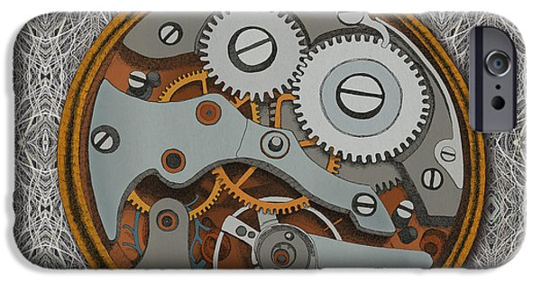 Steam Punk iPhone Cases - Pieces of Time iPhone Case by Meg Shearer