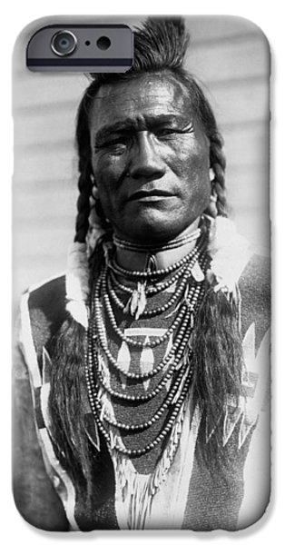 Braids iPhone Cases - Piegan Indian Man circa 1909 iPhone Case by Aged Pixel