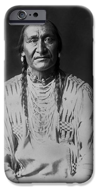 Braids iPhone Cases - Piegan Indian Man circa 1910 iPhone Case by Aged Pixel