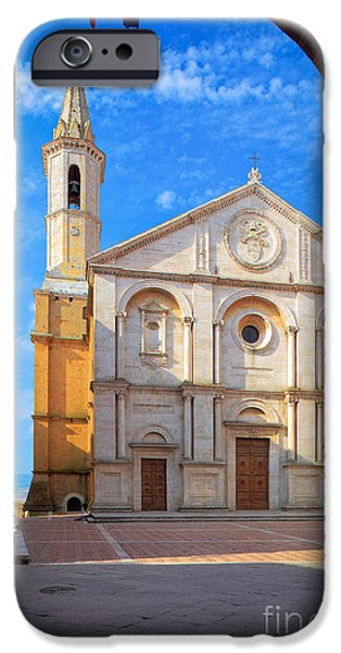 Christianity iPhone Cases - Pienza Duomo iPhone Case by Inge Johnsson