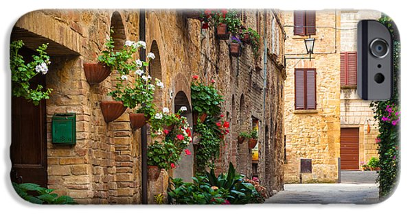 Tuscan Landscapes iPhone Cases - Pienza Street iPhone Case by Inge Johnsson
