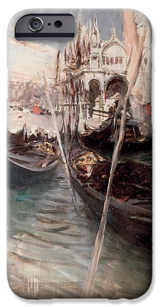 Twentieth Century iPhone Cases - Pier and Saint Marc in Venice iPhone Case by Giovanni Boldini