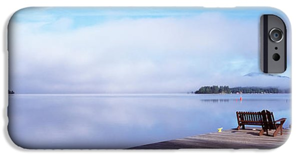 Fourth Photographs iPhone Cases - Pier At A Lake, Fourth Lake, Adirondack iPhone Case by Panoramic Images