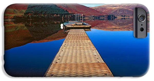 Marys iPhone Cases - Pier At A Lake, St Marys Loch, Scottish iPhone Case by Panoramic Images
