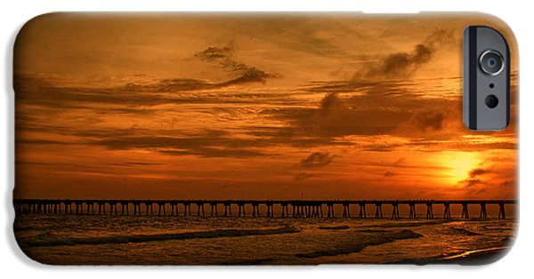 Panama City Beach Photographs iPhone Cases - Pier at Sunset iPhone Case by Sandy Keeton