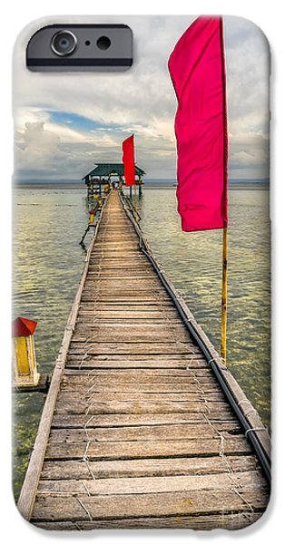 Pier Digital Art iPhone Cases - Pier Flags iPhone Case by Adrian Evans