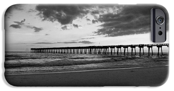 Panama City Beach Photographs iPhone Cases - Pier in Black and White iPhone Case by Sandy Keeton