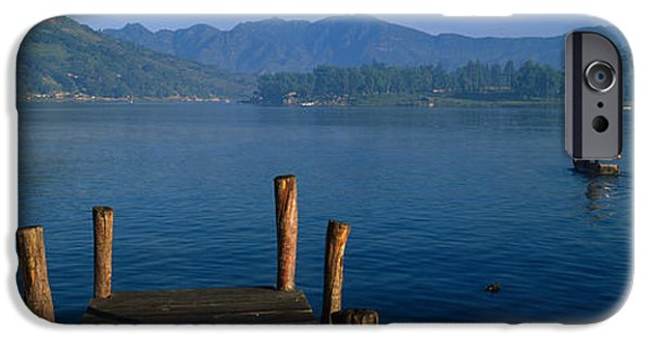 Mid Adult iPhone Cases - Pier On A Lake, Santiago, Lake Atitlan iPhone Case by Panoramic Images