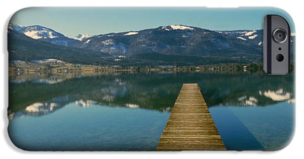 Mountain iPhone Cases - Pier Over On A Lake, Wolfgangsee, St iPhone Case by Panoramic Images