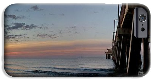 Michael iPhone Cases - Pier Panorama at Sunrise  iPhone Case by Michael Thomas