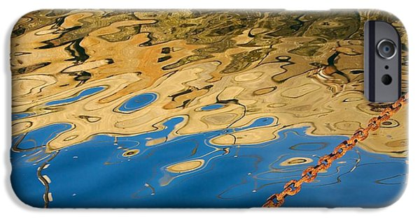 Rust iPhone Cases - Pier Reflection and Rusty Chain iPhone Case by Stuart Litoff