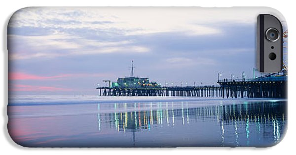 Santa iPhone Cases - Pier With A Ferris Wheel, Santa Monica iPhone Case by Panoramic Images