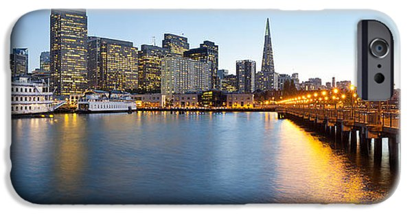Bay Bridge iPhone Cases - Pier With City At Sunset, Bay Bridge iPhone Case by Panoramic Images