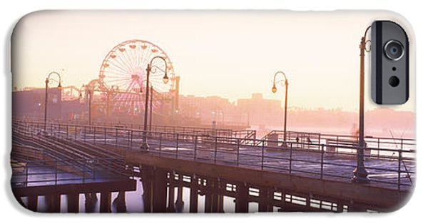 Santa iPhone Cases - Pier With Ferris Wheel iPhone Case by Panoramic Images